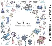 hand drawn doodle boat and sea... | Shutterstock .eps vector #387103462