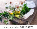 organic essential aroma oil... | Shutterstock . vector #387105175