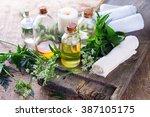organic essential aroma oil... | Shutterstock . vector #387105175