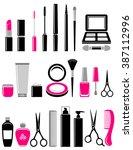 beauty set of glossy cosmetics...   Shutterstock .eps vector #387112996