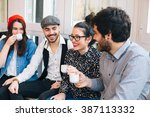 group of attractive young... | Shutterstock . vector #387113332