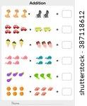 addition number   worksheet for ... | Shutterstock .eps vector #387118612