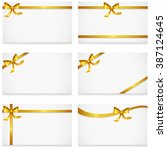 gift card with gold ribbons and ... | Shutterstock .eps vector #387124645