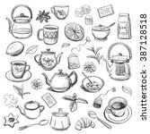 a collection of tea items on a... | Shutterstock .eps vector #387128518
