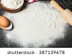 wooden background with baking... | Shutterstock . vector #387139678