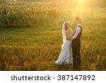 bride and groom posing in the... | Shutterstock . vector #387147892