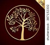 Golden Tree Shape   Vector...