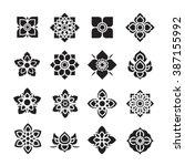 thai ornament icon  flower...   Shutterstock .eps vector #387155992