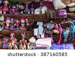 peruvian clothes and toys on... | Shutterstock . vector #387160585