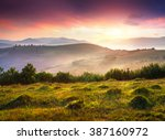 colorful scene in foggy... | Shutterstock . vector #387160972