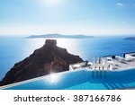 swimming pool with a view on... | Shutterstock . vector #387166786
