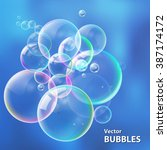 set colorful bubbles in vector. ... | Shutterstock .eps vector #387174172