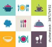 vector restaurant menu icons... | Shutterstock .eps vector #387176932
