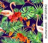 tropical design  exotic leaves  ... | Shutterstock . vector #387185842