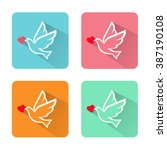silhouette white doves with... | Shutterstock .eps vector #387190108