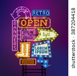retro signboard with light...   Shutterstock .eps vector #387204418