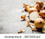 fresh yellow onion. on a stone...