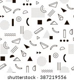 Vector pattern with black and white geometric shapes. Hipster fashion Memphis style. | Shutterstock vector #387219556