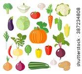 set of vegetables icons.... | Shutterstock .eps vector #387234808