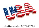 3d Usa With American Flag Word...