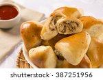 brazilian snack. chicken esfiha ... | Shutterstock . vector #387251956