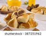 brazilian snack. meat esfiha... | Shutterstock . vector #387251962