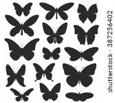 butterflies silhouette set | Shutterstock .eps vector #387256402