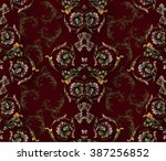 baroque pattern on bordo... | Shutterstock .eps vector #387256852