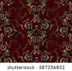 baroque pattern on bordo... | Shutterstock .eps vector #387256852