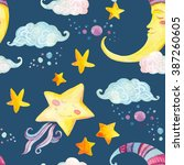 watercolor fairy tale seamless... | Shutterstock . vector #387260605