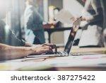 bearded businessman working... | Shutterstock . vector #387275422