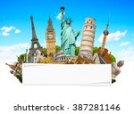 famous monuments of the world... | Shutterstock . vector #387281146