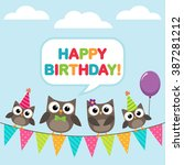 happy birthday vector card with ... | Shutterstock .eps vector #387281212
