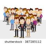 global  ethnic team of... | Shutterstock .eps vector #387285112