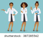 set of three female doctors in... | Shutterstock .eps vector #387285562