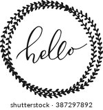hello lettering in hand drawn... | Shutterstock .eps vector #387297892
