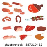 Постер, плакат: Meat products vector Set