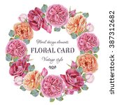 floral greeting card with a... | Shutterstock . vector #387312682