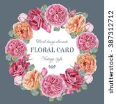 floral greeting card with a...   Shutterstock . vector #387312712