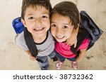 little boy and girl with their... | Shutterstock . vector #38732362