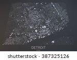detroit map  satellite view ... | Shutterstock . vector #387325126