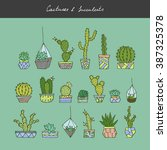 vector hand drawn cactuses and...   Shutterstock .eps vector #387325378