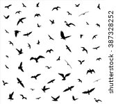 flying birds silhouettes on... | Shutterstock .eps vector #387328252