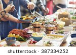 catering eating companionship... | Shutterstock . vector #387334252