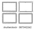 vintage photo frame in doodle... | Shutterstock . vector #387342262