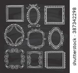 vintage photo frame in doodle... | Shutterstock . vector #387342298