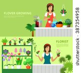 flower shop website banner hero ... | Shutterstock .eps vector #387354958