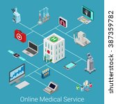 online medical service flat 3d... | Shutterstock .eps vector #387359782