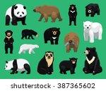 various bears cartoon vector... | Shutterstock .eps vector #387365602