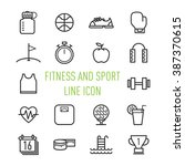 set of fitness and sport line...